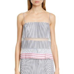 NWT Club Monaco Sunburst Pleat Stripe Chemise Top